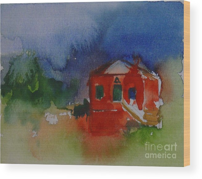 Barn Red Watercolor House Home Abstract Original Leilaatkinson Wood Print featuring the painting Within Red by Leila Atkinson