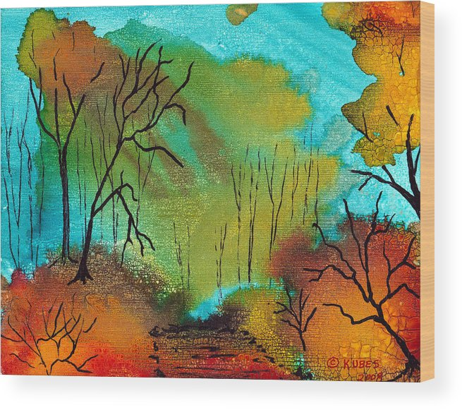 Woods Wood Print featuring the mixed media Woodland Path by Susan Kubes