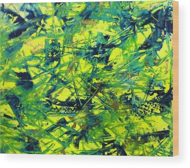Abstract Wood Print featuring the painting Yellow And Green by Guillermo Mason