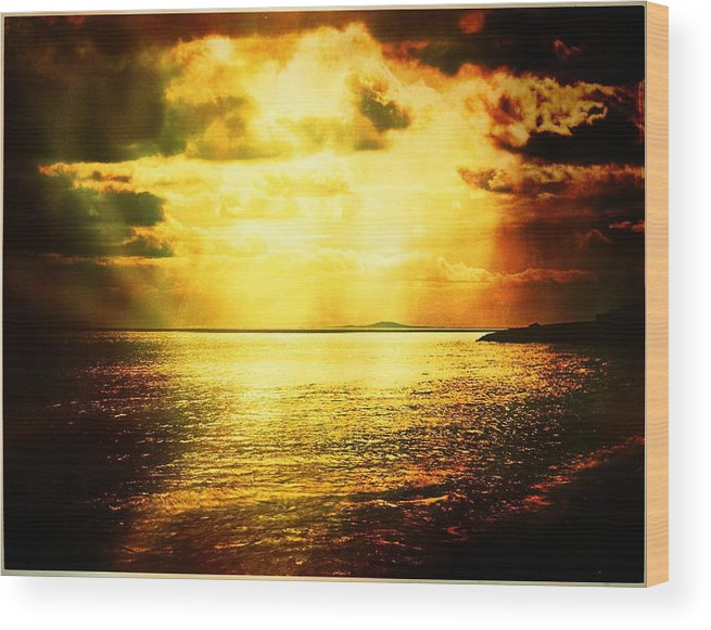 Landscape Wood Print featuring the photograph Yellow Sea by Jean-baptiste Ols