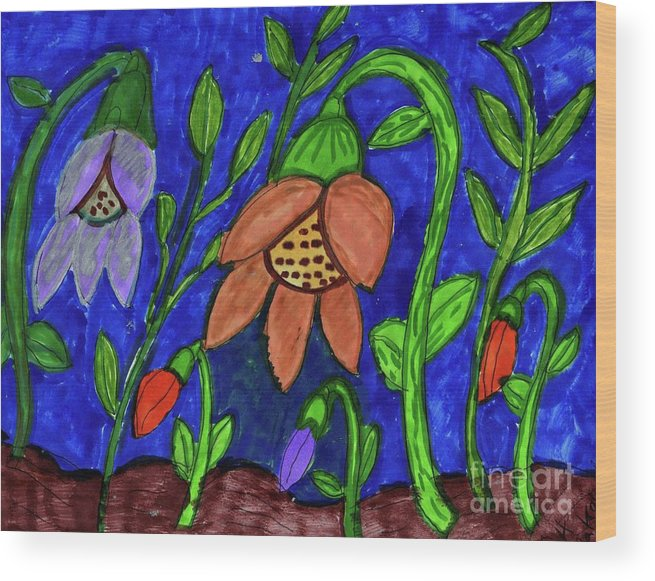 Orange And Lilac Colored Flowers Pink Buds Wood Print featuring the mixed media A Flower Garden by Elinor Helen Rakowski