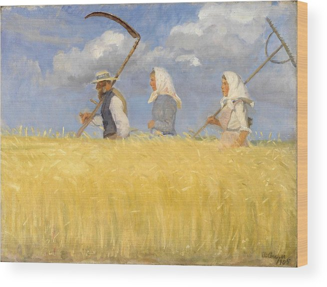 Harvest Wood Print featuring the painting Anna Ancher - Harvesters by Celestial Images