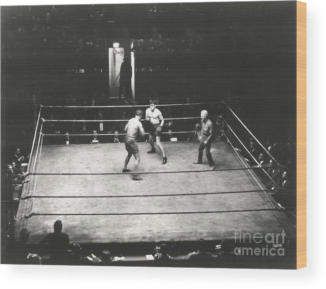 Ring Wood Print featuring the photograph High Angle View Of Boxing Match by Everett Collection
