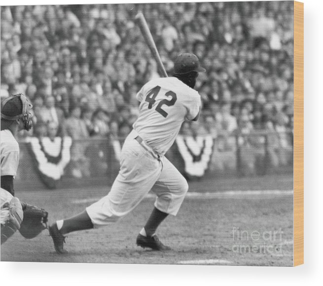 Sports Helmet Wood Print featuring the photograph Jackie Robinson At Bat by Robert Riger