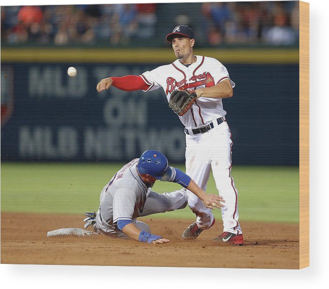 Atlanta Wood Print featuring the photograph Michael Cuddyer And Jace Peterson by Mike Zarrilli