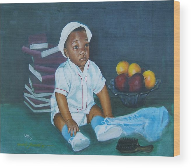 Child Wood Print featuring the painting Books And Fruit by Howard Stroman