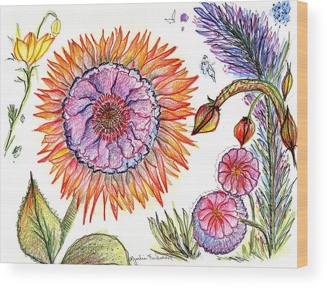 Flowers Nature Botany Drawing Julie Richman Flora Pencil Wood Print featuring the painting Botanical Flower-50 by Julie Richman