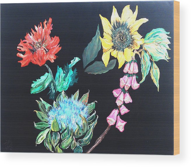 Flowers Wood Print featuring the painting Coastal Floral by Mikki Alhart