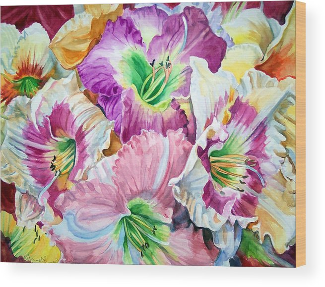 Flowers Wood Print featuring the print Daylilliesll by Bette Gray