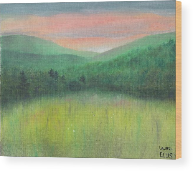Landscape Wood Print featuring the painting Forgotten Meadow by Laurel Ellis
