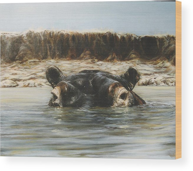 Wildlife Wood Print featuring the painting Hippo by Steve Greco