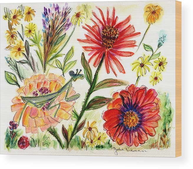 Flowers Nature Botany Drawing Julie Richman Flora Pencil Wood Print featuring the painting Praying Mantis Flowers54 by Julie Richman