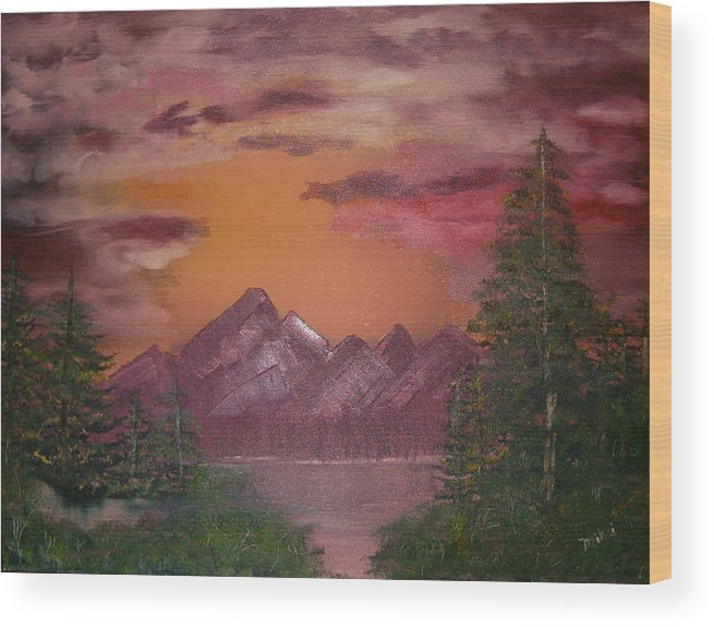 Loriginal Oil Wood Print featuring the painting Purple Mountain by Mikki Alhart