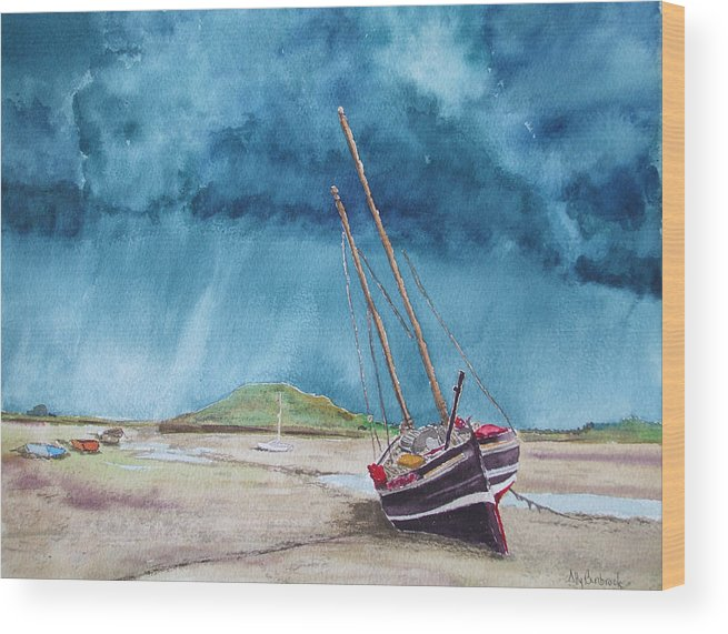 Ship Wood Print featuring the painting Rainmaker by Ally Benbrook