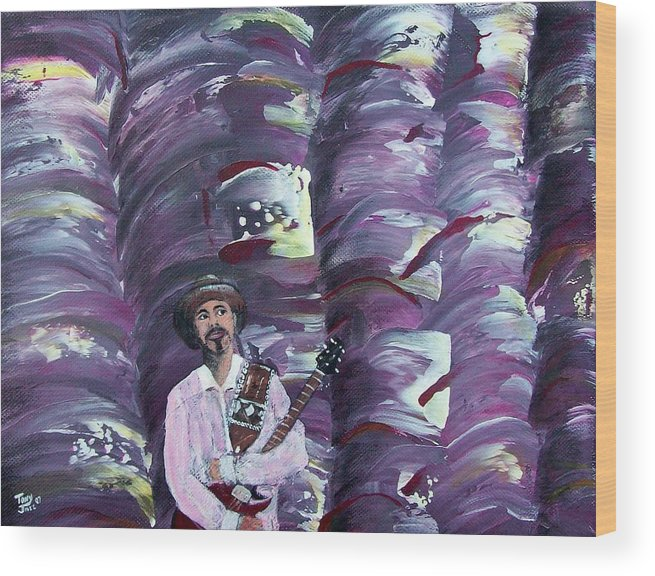 Abstract Wood Print featuring the painting Stage Fright by Tony Rodriguez