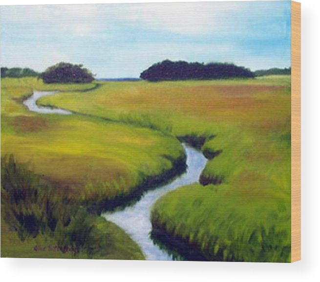 Landscape Wood Print featuring the print Summer Marsh by Anne Trotter Hodge