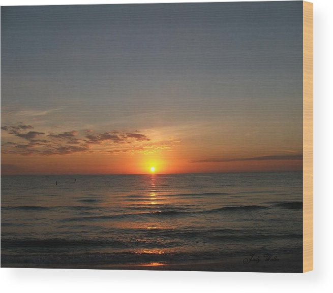 Beach Wood Print featuring the photograph Sunset Beach by Judy Waller