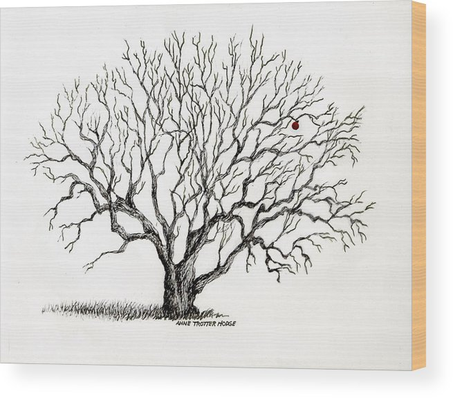 Landscape Wood Print featuring the print The Last Apple by Anne Trotter Hodge
