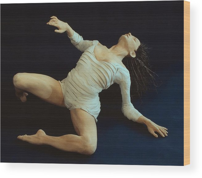Dance Wood Print featuring the sculpture White Dancer Left View by Gordon Becker