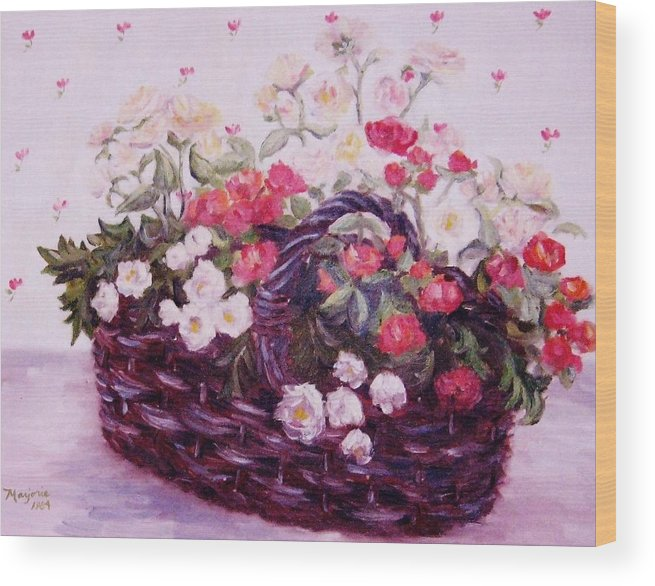 Baby Roses Wood Print featuring the painting Basket Of Baby Roses by Mimi Saint DAgneaux