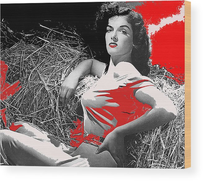 Film Homage Jane Russell The Outlaw 1943 Publicity Photo Photographer George Hurrell 2012 Wood Print featuring the photograph Film Homage Jane Russell The Outlaw 1943 Publicity Photo Photographer George Hurrell 2012 by David Lee Guss