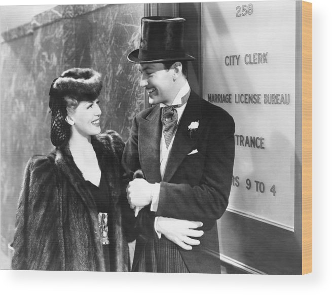 1940 Movies Wood Print featuring the photograph Two Girls On Broadway, From Left Lana by Everett