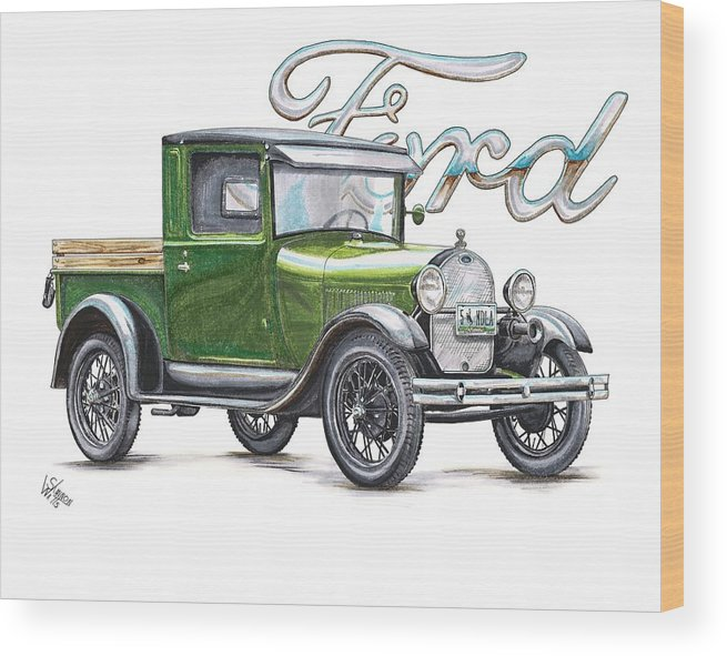 1929 Wood Print featuring the drawing 1929 Model A Ford Truck by Shannon Watts