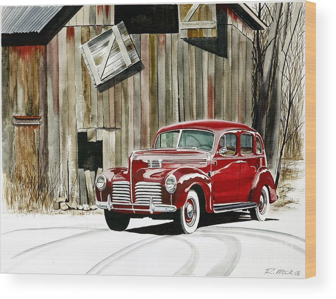 Hudson Wood Print featuring the painting 1940 Hudson And Barn by Rick Mock
