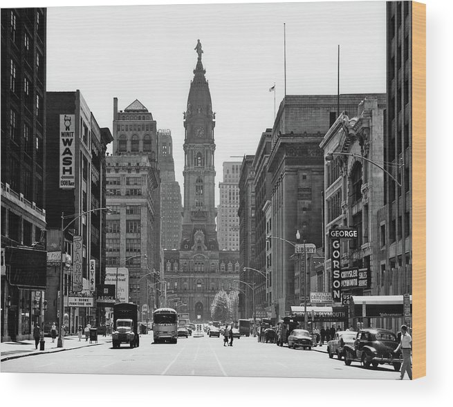 Photography Wood Print featuring the photograph 1950s Downtown Philadelphia Pa Usa by Vintage Images