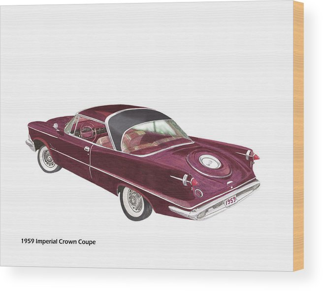 1959 Chrysler Imperial Wood Print featuring the painting Imperial By Chrysler by Jack Pumphrey