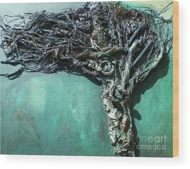 Green Abstract Wood Print featuring the painting The Greenman by Ann Fellows