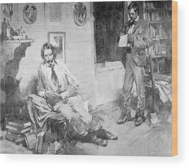 Stevenson Wood Print featuring the drawing Robert Louis Stevenson Scottish Writer by Mary Evans Picture Library