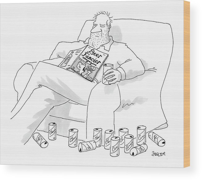 Interiors Drinking Alcohol Magazines Literature  (man Wood Print featuring the drawing New Yorker July 25th, 2005 by Jack Ziegler
