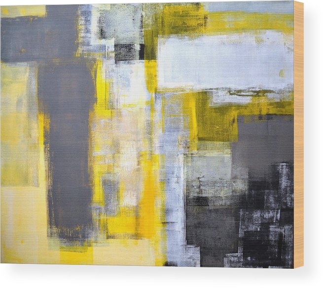 Grey Wood Print featuring the painting Busy Busy - Grey And Yellow Abstract Art Painting by CarolLynn Tice