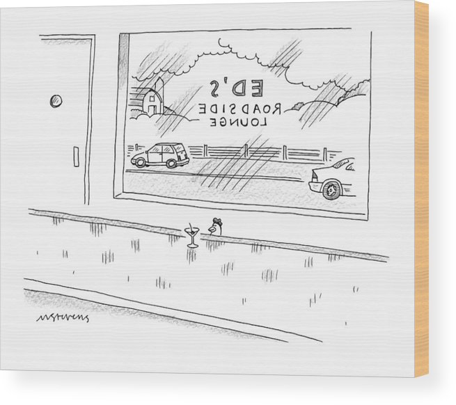 Captionless Wood Print featuring the drawing A Chicken Sits At A Bar Called Ed's Roadside by Mick Stevens
