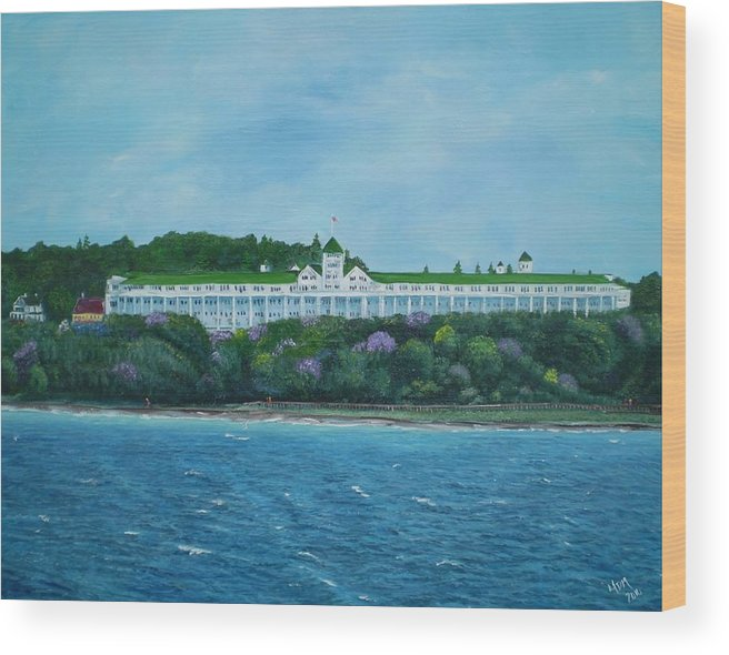 Grand Hotel Wood Print featuring the painting A Grand Expanse by Yvonne Della-Moretta