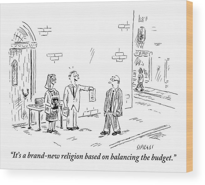 Budget Wood Print featuring the drawing A Man And A Woman Stand On A Street Corner by David Sipress