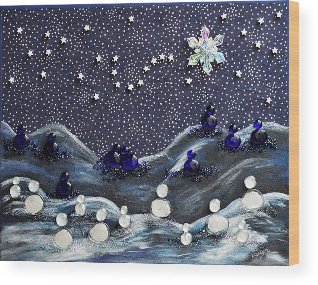 Snow Wood Print featuring the mixed media A Midnight Clear by Donna Blackhall