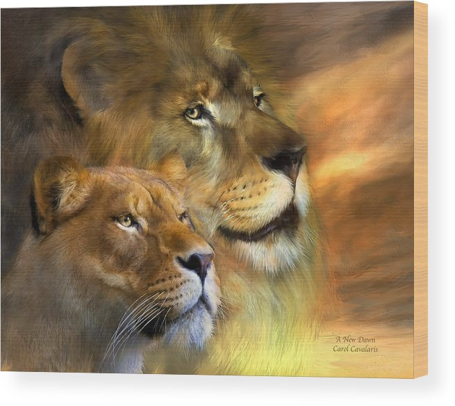 Lion Wood Print featuring the mixed media A New Dawn by Carol Cavalaris