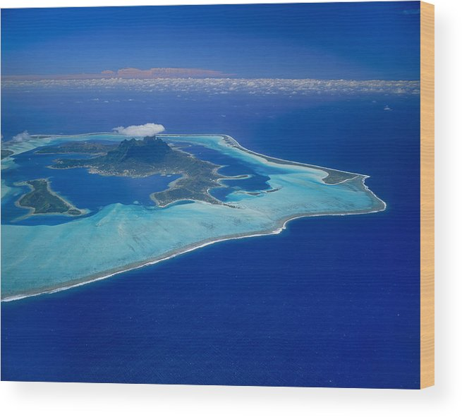 Aerial View Of Bora Bora Island Tahiti Wood Print