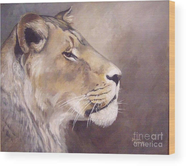 African Lioness Wood Print featuring the painting African Lioness On Alert by Suzanne Schaefer