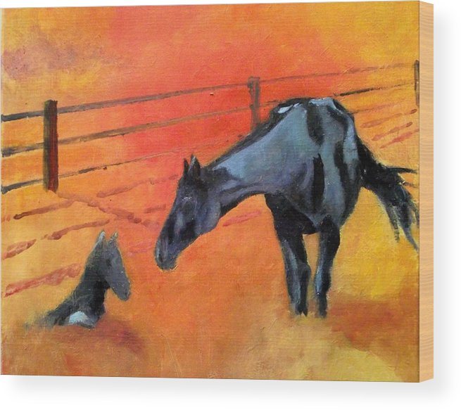 Horses Wood Print featuring the painting Alls Well by Ken Parkes