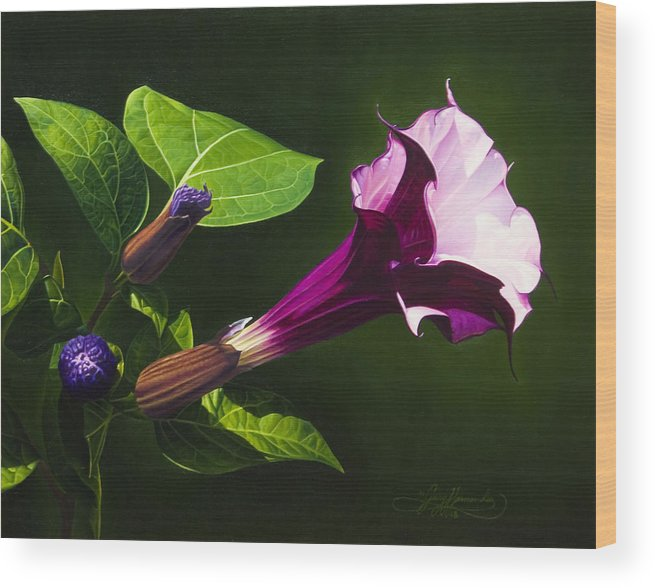Floral Wood Print featuring the painting Anastacias Datura by Gary Hernandez