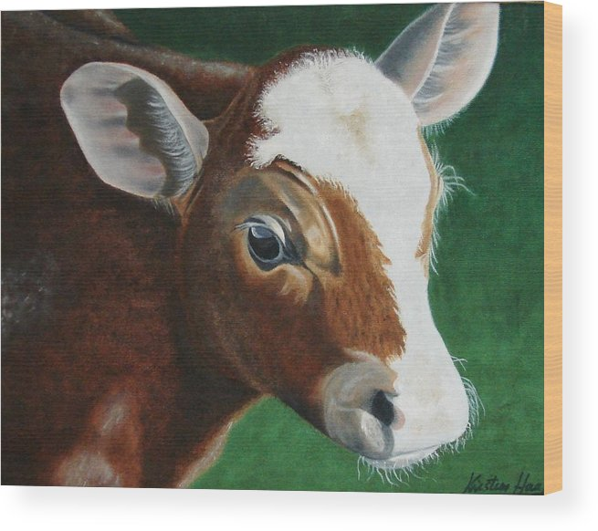 Animals Wood Print featuring the painting Baby Calf by Kristina Hauk