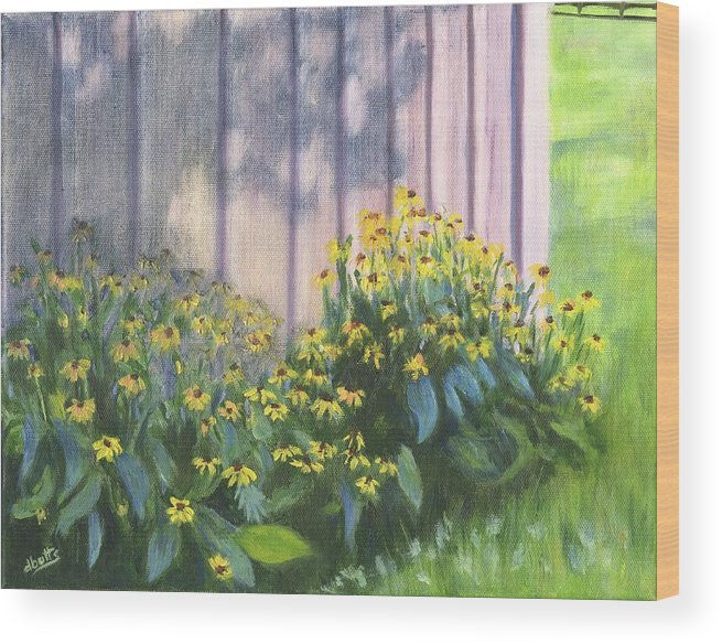 Flowers Wood Print featuring the painting Black Eyed Susans by Deborah Butts