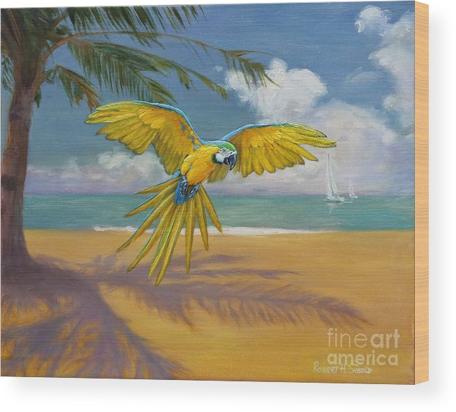 Ocean Wood Print featuring the painting Blue Mccaw by Robert H Sibold