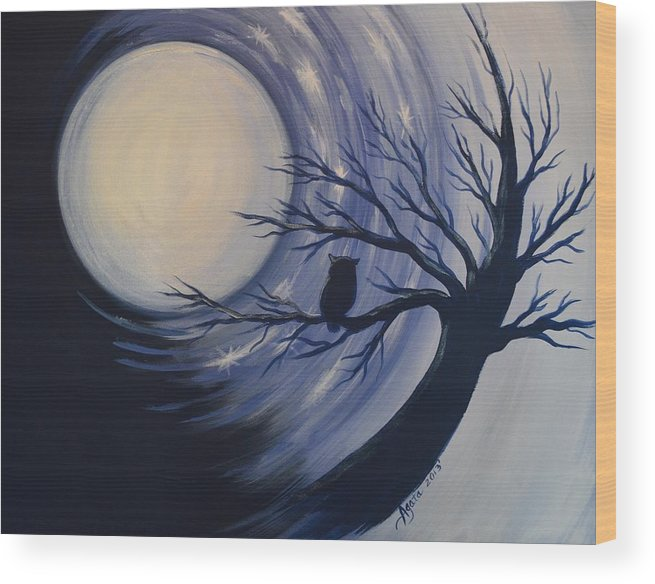 Owl Wood Print featuring the painting Blue Moon Vortex With Owl by Agata Lindquist