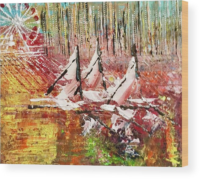 Sailboats Wood Print featuring the painting Chicago At It's Best by George Riney