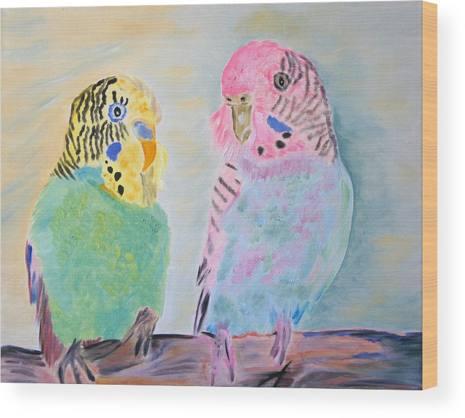 Parakeets Wood Print featuring the painting Childhood Parakeets by Meryl Goudey