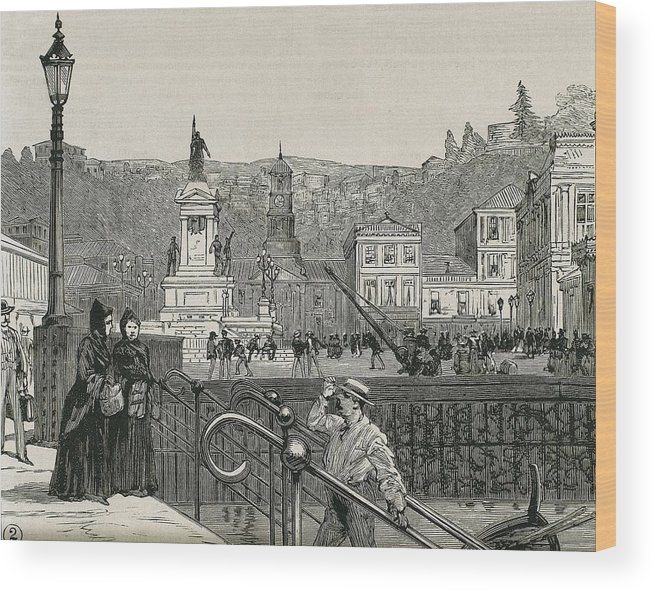 Horizontal Wood Print featuring the photograph Chile. Valpara�so. Square In 1891 by Everett